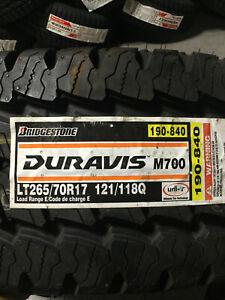 1 New LT 265 70 17 LRE 10 Ply Bridgestone Duravis M700 Commercial Tire