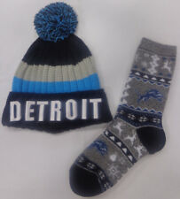 Detroit Lions Football Ugly Christmas Sweater Socks with Detriot Stocking Hat