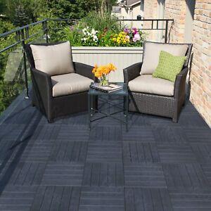 10 Garden Interlocking Decking Tiles - Recycled Rubber Material - 30 x 30cm