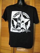 Mens T-Shirt, Day of the Dead, Skull Star Design, Dressed to Kill, Size M, Black