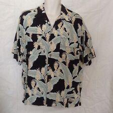 Tommy Bahama Mens Hawaiian Camp Shirt Medium Black Green Tan Banana Leaves