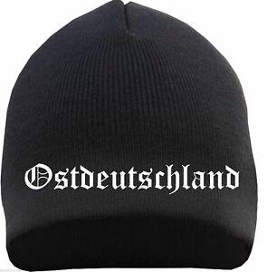 Ostdeutschland Beanie - altdeutsch bestickt - Schwarz - strickmütze osten mütze