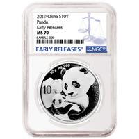 2019 10 Yuan Silver China Panda NGC MS70 Blue ER Label