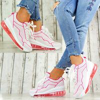 Neu Plateau Sneaker Lack Damen Schuhe Stiefeletten Transparent Sohle Pink 0002
