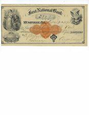 U.S. BANK CHECK   FIRST NATIONAL BANK RUSHVILLE ILL  1874   VF