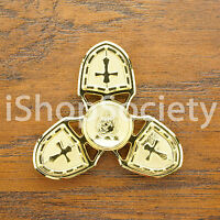 Crusader Fidget Tri Spinner Figet Spinners EDC Gyro Anxiety Toy ADHD -USA- GOLD
