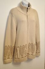 Coldwater Creek NEW 1X Cardigan Sweater Jacket Nordic Beige Ski Relaxed $139