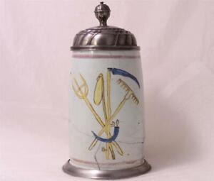 Antique Early German Faience Beer Stein Occupational Farmer Bayreuth c.1790s