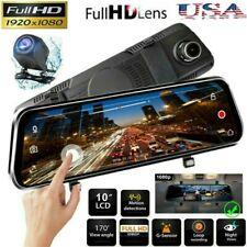 10 HD 1080P Dual Lens Car DVR Rearview Mirror Cam Dash Recorder + Rear Camera