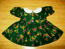 "DARK GREEN FLOWERED WHITE COLLAR DRESS for 16"" 17"" 18"" CPK Cabbage Patch Kids"