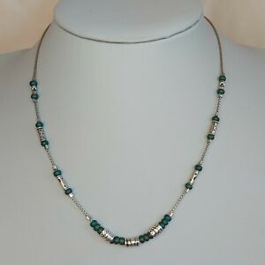 Vintage 925 Silver Box Chain Blue Glass Bead Station Necklace, Boho Ethnic