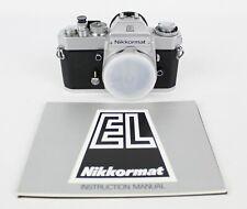 Nikon Nikkormat El Silver 35mm Slr Film Camera Body and Manual