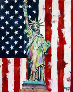 """Statue of Liberty Aceo Print of Original Art Painting by Artist DAN BYL 2.5x3.5"""""""