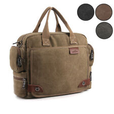 Mens Canvas Briefcase Multiple Pockets Shoulder Messenger Casual Laptop Bags