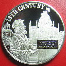 1997 COOK ISLANDS $50 SILVER PROOF MARCO POLO KUBLAI KHAN 13th CENTURY KM#325.2