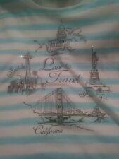 Karen Scott Love To Travel Studs Shirt Blouse XL Washington Seattle CA NY