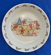 Vintage Bunnykins Porridge Plate - Royal Doulton - Cricket Game - 1967