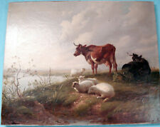 THOMAS GEORGE COOPER,London signiert u.links1872 ,Cows and sheep,Öl auf Leinwand