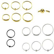 Nasenpiercing Nasenring 925er Silber/Gold/Schwarz 0,8mm x 5mm Nosering001