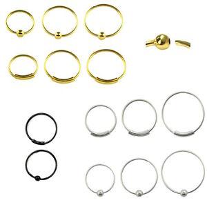 Nasenpiercing Nasenring 925er Silber/Gold/Schwarz Durchmesser-innen 5 bis 11 mm
