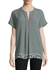 NWT MAX STUDIO WOMEN'S MULTI-COLOR 100% POLYESTER SHORT SLEEVE BLOUSE SIZE M-$88