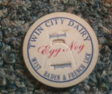 French Lick, Indiana Twin City Dairy Milk BOTTLE cap INDIANA West Baden Egg Nog