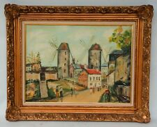 Vintage Dutch Painting Oil on Canvas Holland Scene w/Windmill Signed B Barnell