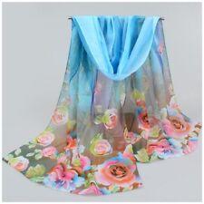 destockage foulard écharpe neuf mousseline de soie bleu fleurs plumes
