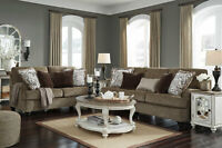 NEW Transitional Brown Chenille Fabric Living Room 2 piece Sofa Couch Set IG2N