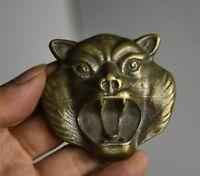6.5cm vieux porcelaine bronze feng shui zodiaque animal bête tigre statue