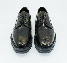 Prada Men's Camo-Print Wing-Tip Derby Glossy Leather Shoe,Green Camo,MSRP $1,150