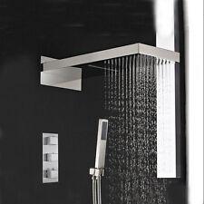 Nickel brossé cascade pluie tête de douche robinet thermostatique robinet mitigeur