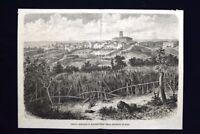 Veduta generale di Monterotondo nella provincia di Roma Incisione del 1868
