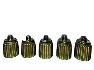 Vintage ribbed glass peg votive sconce candle holders Set Of 5 EUC Green
