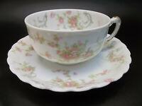 Antique Haviland Limoges Porcelain France Pink Roses Blue Tea Cup Saucer Set