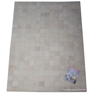 Natural White Patchwork Cowhide Rug