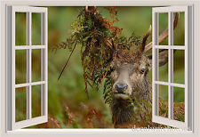 Deer Window View Repositionable Color Wall Sticker Wall Mural 3 FT