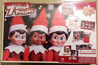 ELF ON A SHELF 7 WOOD JIGSAW PUZZLE SET w/ storage box  -  A Christmas Tradition