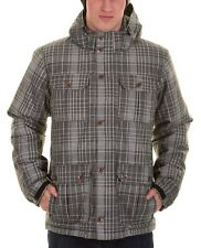Vans Men's Mixter II Hooded Jacket Coat Gray/White PLAID PARKA REMOVABLE HOOD XL