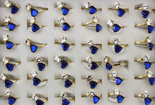 32pcs Lady's Stainless Steel Jewelry Wholesale Lots Cute Heart Glass Rings AH745