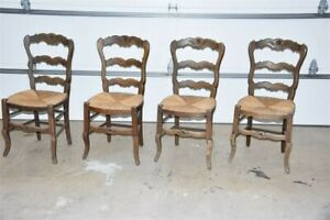 Set of 4 Antique French Country Rush Seat Side Chairs Beechwood