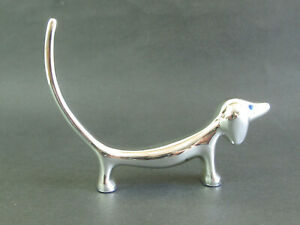 Dog Ring Holder - Silver Plated Finish- Dachshund w Blue Eyes - Boxed