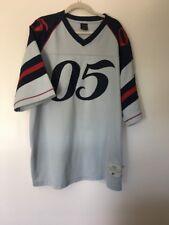 90s Mens FUBU Gray Red Blue  05 Sewn Football Jersey - Size XXL 9658734e4
