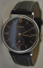 Vintage 1953 ETERNA men's watch with black dial and sub-second register