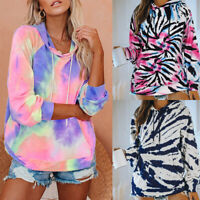 ❤️ Women's Tie Dye Sweater Jumper Tops Blouse Long Sleeve Loose Hoodies Pullover