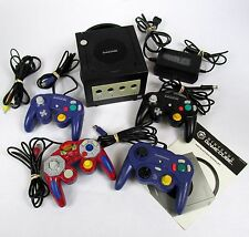 Nintendo Gamecube Black System Console 4 Controllers Cables Spider-Man Works