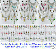 PERUVIAN JEWELRY LOT 34  NECKLACES EARRINGS WHOLESALE