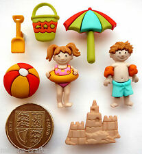 DAY AT BEACH Craft Buttons 1st CLASS POST Holiday Seaside DRESS IT UP Boy Girl