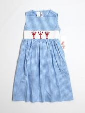 New Girl Silly Goose Smocked Red Blue Lobster Patriotic Dress Size 6