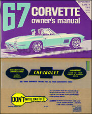 1967 Corvette Sting Ray Owners Manual with Envelope 67 Chevy Owner Guide Book